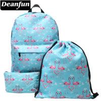 Голубой рюкзак с розовыми фламинго для девочек (в комплекте также косметичка и сумка для обуви)