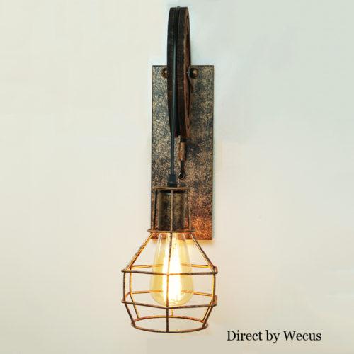 Настенный винтажный светильник бра в виде шкива в стиле лофт