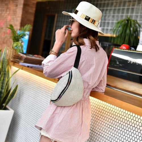 Женская поясная соломенная пляжная сумка