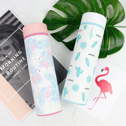 Термос из нержавеющей стали с рисунком фламинго или кактуса