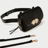 Женская черная поясная сумка со львами (реплика Зара/Zara)