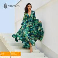 Длинное летнее платье с глубоким V-образным вырезом, длинными рукавами и зеленым растительным принтом