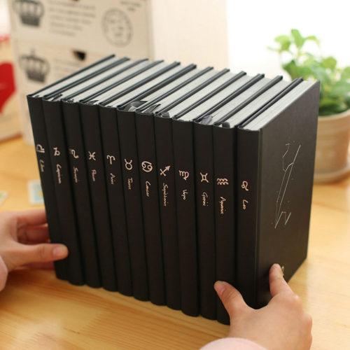 Черные блокноты со знаками зодиака 96 листов