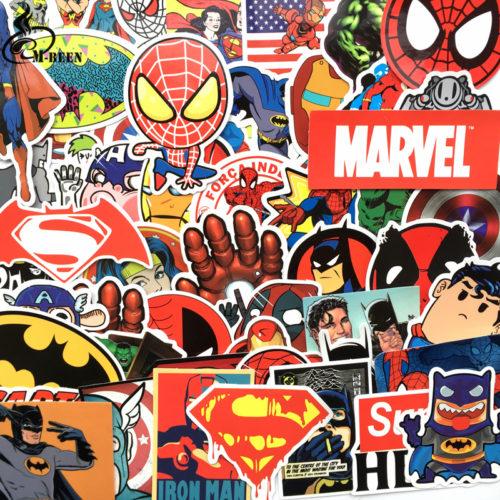 Яркие стикеры наклейки Марвел (Marvel) 50 шт.