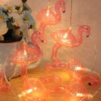 Светодиодная гирлянда с лампочками Фламинго на батарейках