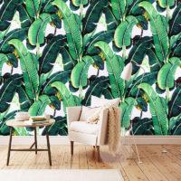 Декоративные обои с рисунком зеленых листьев бананового дерева