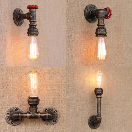 Настенный винтажный светильник бра в виде крана с маховиком красного цвета в стиле лофт