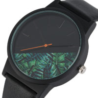 Наручные черные кварцевые часы с растительным принтом джунглей на циферблате