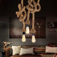 Подвесной светильник на потолок в виде лампочек на пеньковых веревках