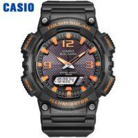 Casio AQ-S810W-8A Оригинальные круглые спортивные наручные мужские кварцевые водонепроницаемые часы на солнечной батарее