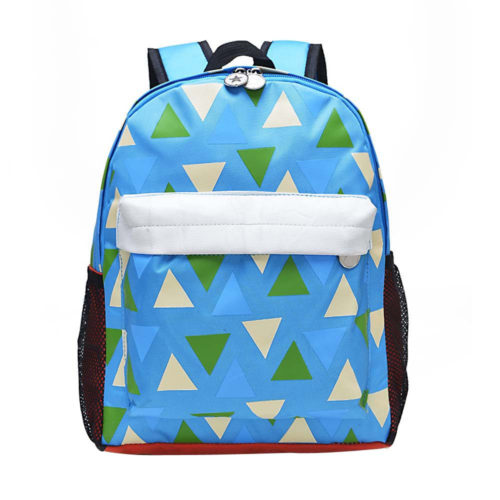 Детский школьный рюкзак для мальчиков и девочек с рисунком треугольников, сетками по бокам
