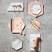 Красивая одноразовая бумажная розовая или под мрамор посуда