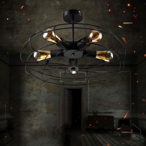 Потолочный черный ретро светильник в виде вентилятора в стиле лофт