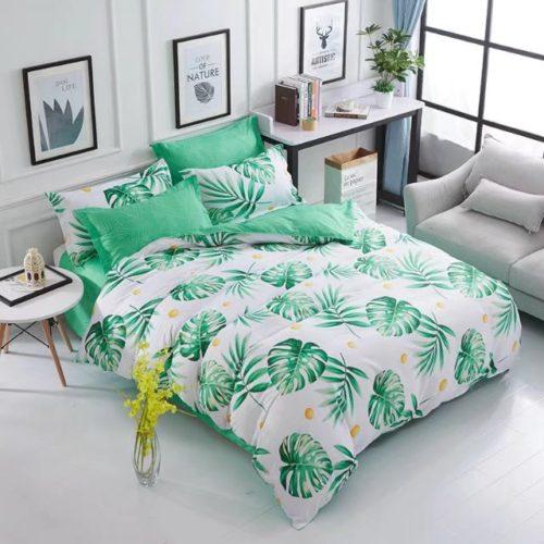 Постельное белье с рисунком зеленых листьев монстеры
