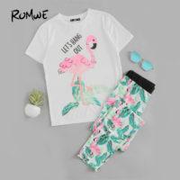 Женская пижама с фламинго и растениями (белая футболка + брюки)