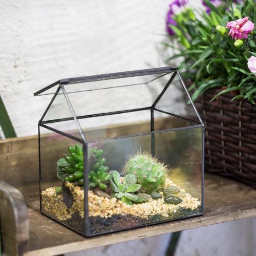 Террариум (флорариум) в виде домика геометрической формы с откидывающейся крышкой