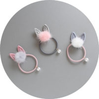Резинки и заколки для волос с помпоном и ушками