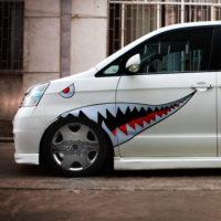 Наклейка с челюстями акулы на авто