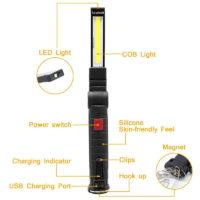 Портативный светодиодный COB фонарик USB на магнитной ручке