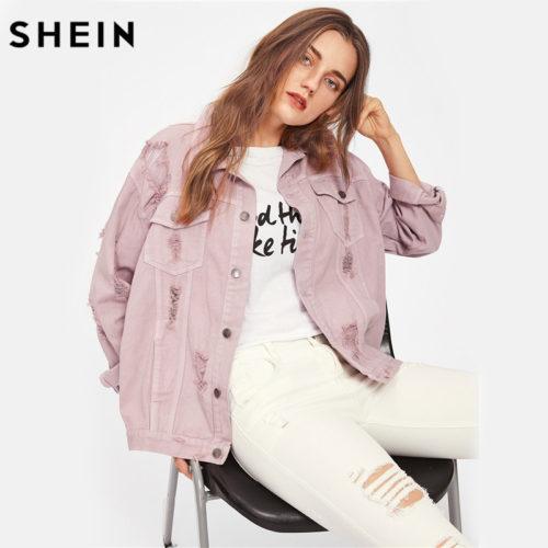 Женская свободная джинсовка пудрово розового цвета с рваными потертостями