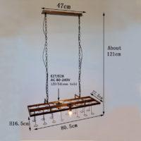 Подвесной светильник на потолок в виде платформы на цепях с двумя цоколями Е14 и отверстиями для 16 бутылок