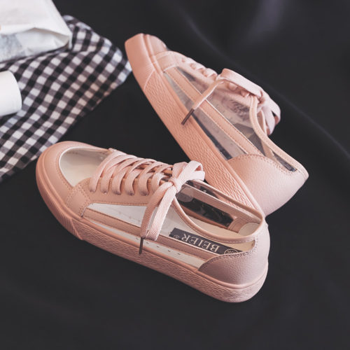 Женские кеды-кроссовки с прозрачными вставками