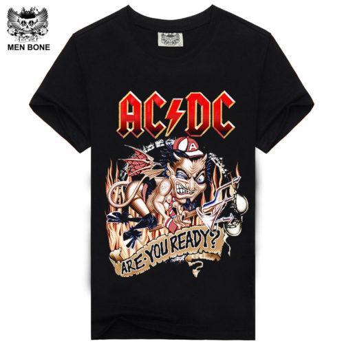 Мужская черная футболка с символикой рок-группы AC/DC