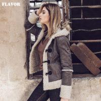 Женская теплая демисезонная дубленка-куртка с капюшоном из натуральной кожи и искусственного меха