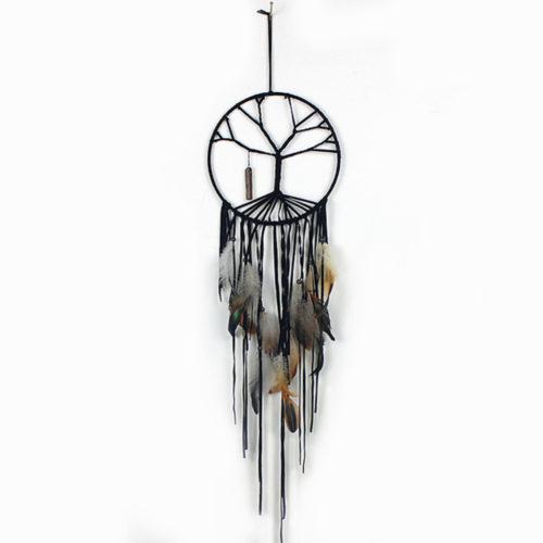 Ловец снов декор на стену с черными нитями и перьями