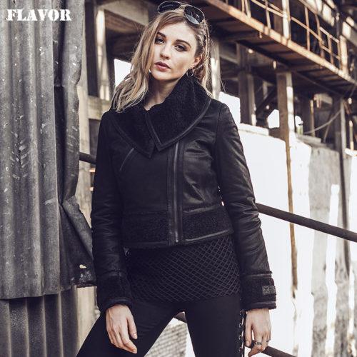 Женская теплая короткая дубленка-куртка с большим отложным воротником из натуральной кожи и искусственного меха