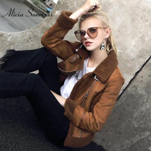 Женская теплая искусственная замшевая дубленка-куртка-косуха с мехом под овчину