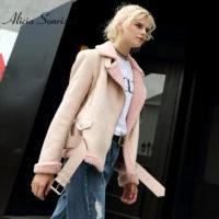 Женская теплая искусственная замшевая дубленка-куртка-косуха без капюшона