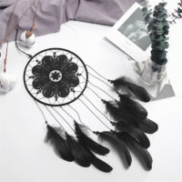 Голубой, черный или белый ловец снов с перьями, бусинами и кружевом в индийском стиле на стену