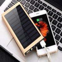 Тонкий металлический Power Bank 20000 мАч портативное зарядное устройство с солнечными батареями