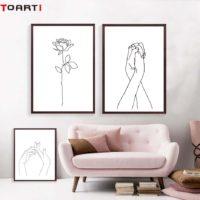 Абстрактные минималистические плакаты рисунки на холсте с изображением рук