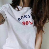 Женская белая футболка с надписью Born in 80's/90's/00's