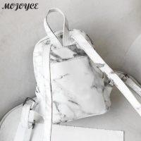 Женский небольшой мраморный черный или белый рюкзак из искусственной кожи