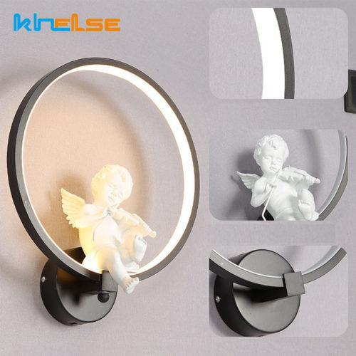 Круглый светодиодный настенный светильник бра с ангелом 30 см