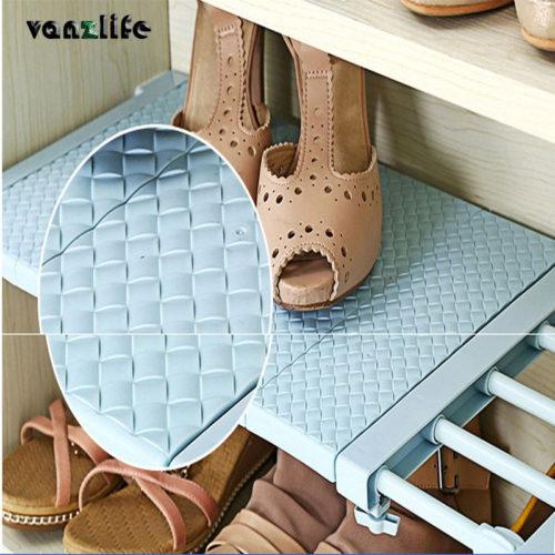 Пластиковая телескопическая полка в шкаф для обуви, одежды