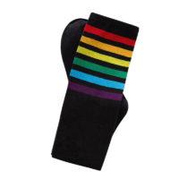 Женские белые или черные высокие носки гольфы с радужными разноцветными полосками