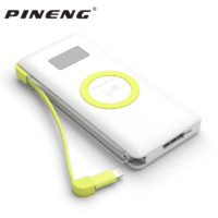 Pineng PN888 Power Bank портативное зарядное устройство 10000 мАч с встроенным кабелем разъема micro USB и функцией беспроводной зарядки Quick Charge