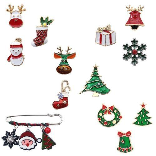 Набор из 3 или 2 новогодних брошей / булавка с подвесками