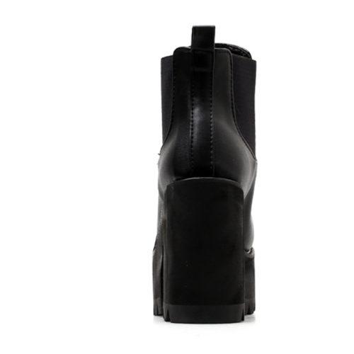 Женские черные ботинки с резинкой, из искусственной кожи, на высокой платформе и квадратном каблуке
