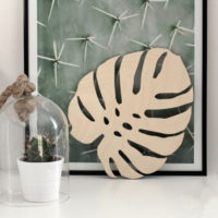Деревянный лист монстеры 25 см