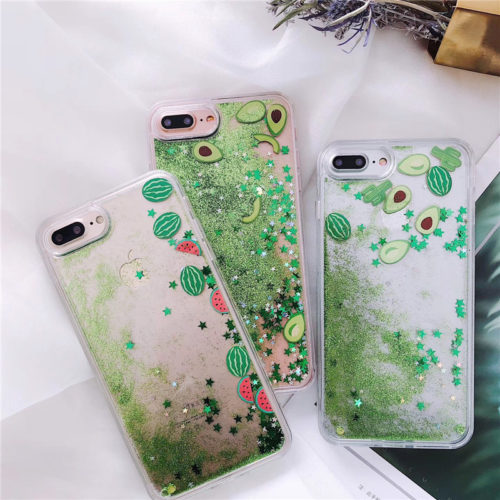 Чехол задняя крышка для iPhone с жидкими блестками и рисунком арбуза или авокадо