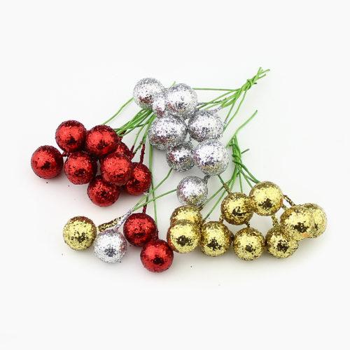 Набор искусственных елочных блестящих шариков 12 мм 50 шт. для DIY поделок, новогодних венков