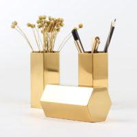 Шестигранный металлический золотой держатель стакан подставка для карандашей и ручек