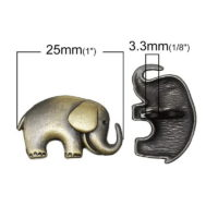 Металлические пуговицы слоны 25 мм 20 шт.