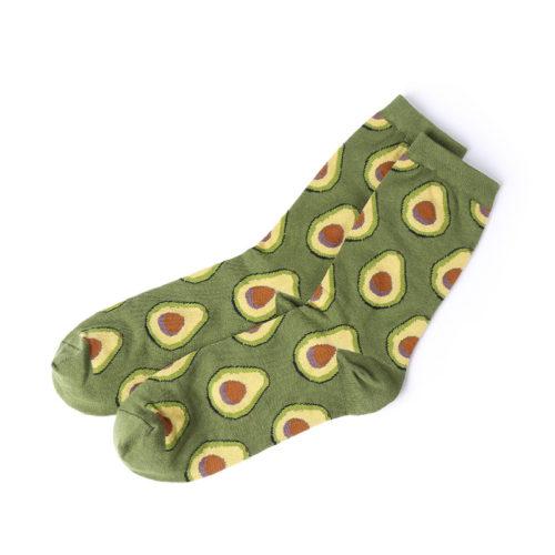 Хлопковые высокие зеленые носки с рисунком авокадо