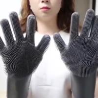 Силиконовые перчатки с щетками для мытья посуды